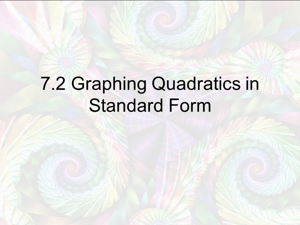 7.2 Graphing Quadratics in Standard Form