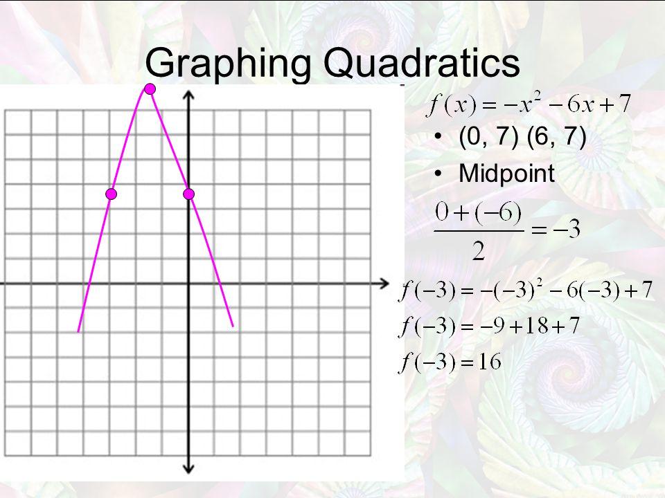 Graphing Quadratics (0, 7) (6, 7) Midpoint