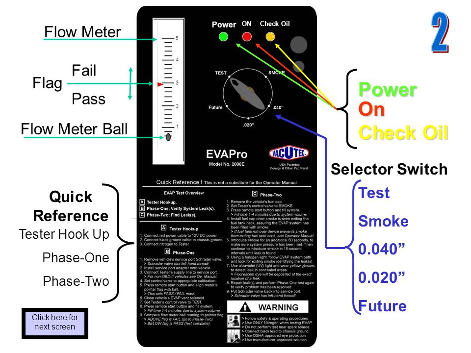 Flow Meter Ball Fail Pass Flow Meter Selector Switch Power On Check Oil Test Smoke 0.040 0.020 Future Quick Reference Tester Hook Up Phase-One Phase-Two Flag Click here for next screen ON Check Oil Power