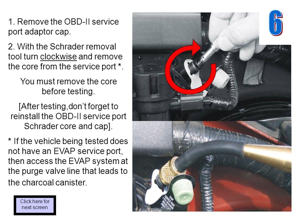 1. Remove the OBD-II service port adaptor cap. 2.