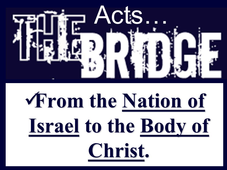 Acts… From the Nation of Israel to the Body of Christ.