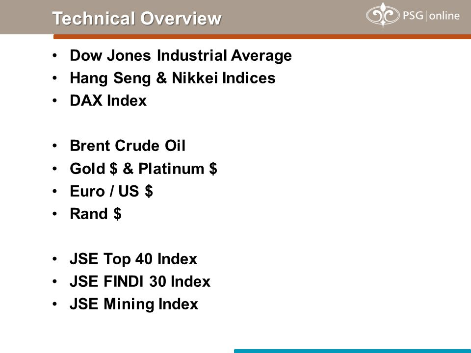Dow Jones Industrial Average Hang Seng & Nikkei Indices DAX Index Brent Crude Oil Gold $ & Platinum $ Euro / US $ Rand $ JSE Top 40 Index JSE FINDI 30 Index JSE Mining Index Technical Overview