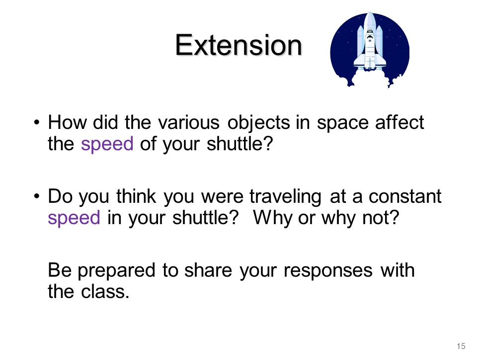 Extension How did the various objects in space affect the speed of your shuttle.