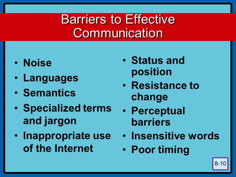 8-10 Barriers to Effective Communication Noise Languages Semantics Specialized terms and jargon Inappropriate use of the Internet Status and position Resistance to change Perceptual barriers Insensitive words Poor timing