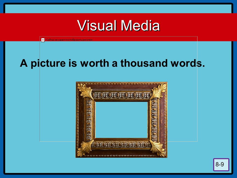 8-9 Visual Media A picture is worth a thousand words.