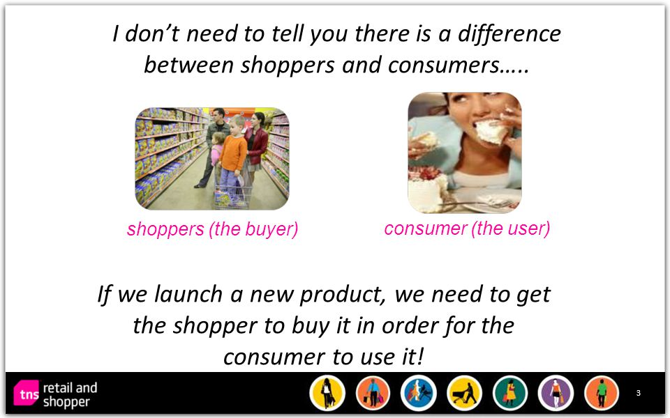 3 I don't need to tell you there is a difference between shoppers and consumers…..