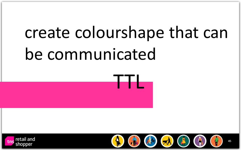 45 create colourshape that can be communicated TTL