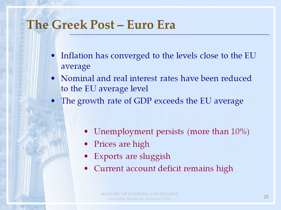 MINISTRY OF ECONOMY AND FINANCE Directorate General for Economic Policy 23 Inflation has converged to the levels close to the EU average Nominal and real interest rates have been reduced to the EU average level The growth rate of GDP exceeds the EU average Unemployment persists (more than 10%) Prices are high Exports are sluggish Current account deficit remains high The Greek Post – Euro Era