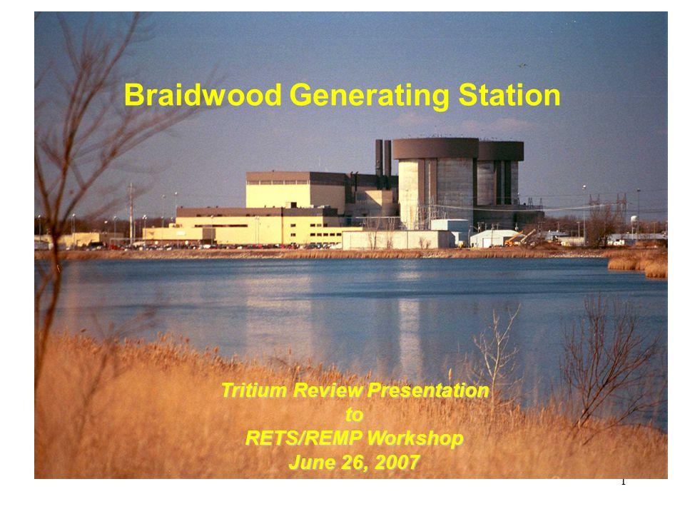 1 Braidwood Generating Station Tritium Review Presentation to RETS/REMP Workshop June 26, 2007