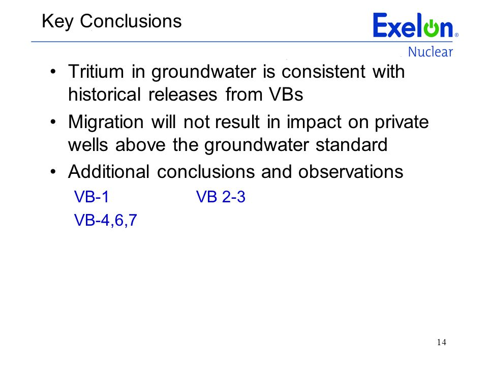 14 Key Conclusions Tritium in groundwater is consistent with historical releases from VBs Migration will not result in impact on private wells above t
