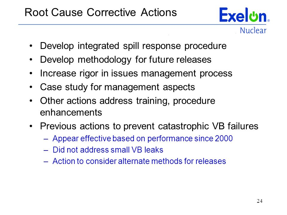 24 Root Cause Corrective Actions Develop integrated spill response procedure Develop methodology for future releases Increase rigor in issues manageme