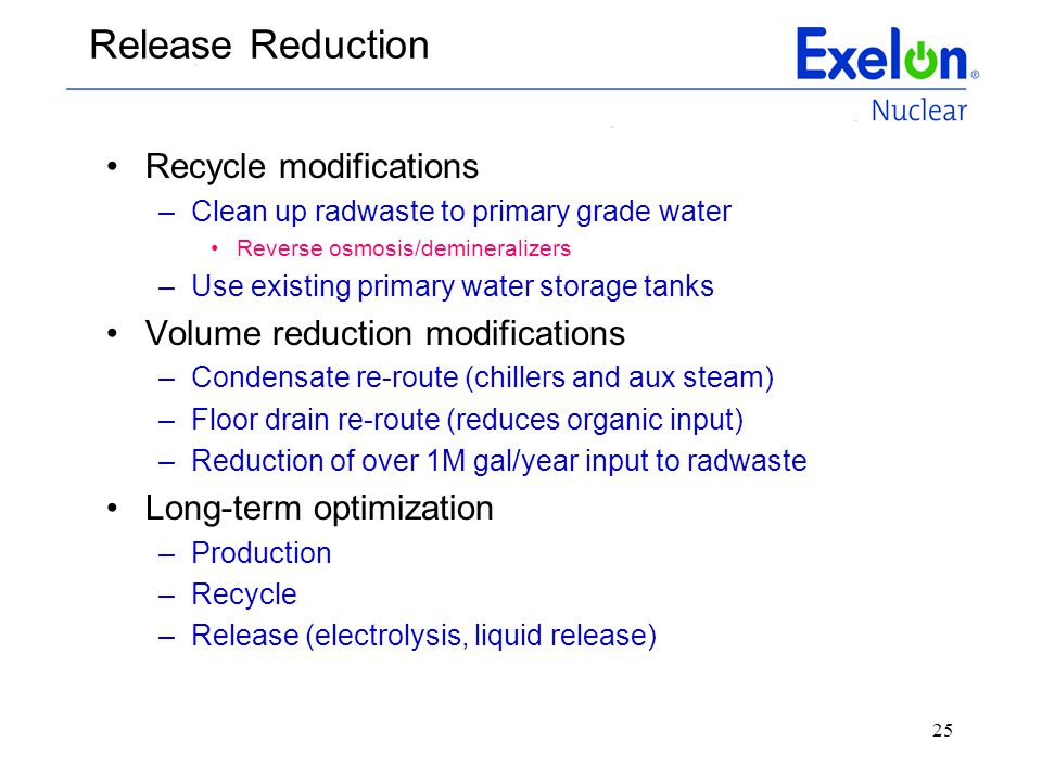 25 Release Reduction Recycle modifications –Clean up radwaste to primary grade water Reverse osmosis/demineralizers –Use existing primary water storag