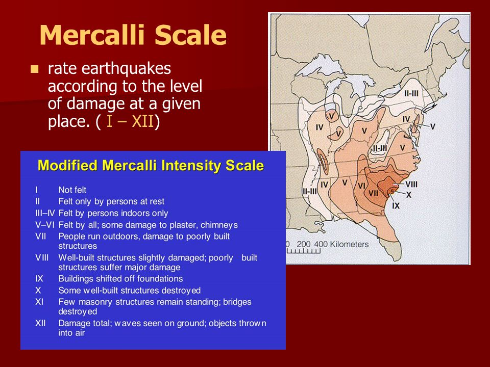 Mercalli Scale rate earthquakes according to the level of damage at a given place. ( I – XII)