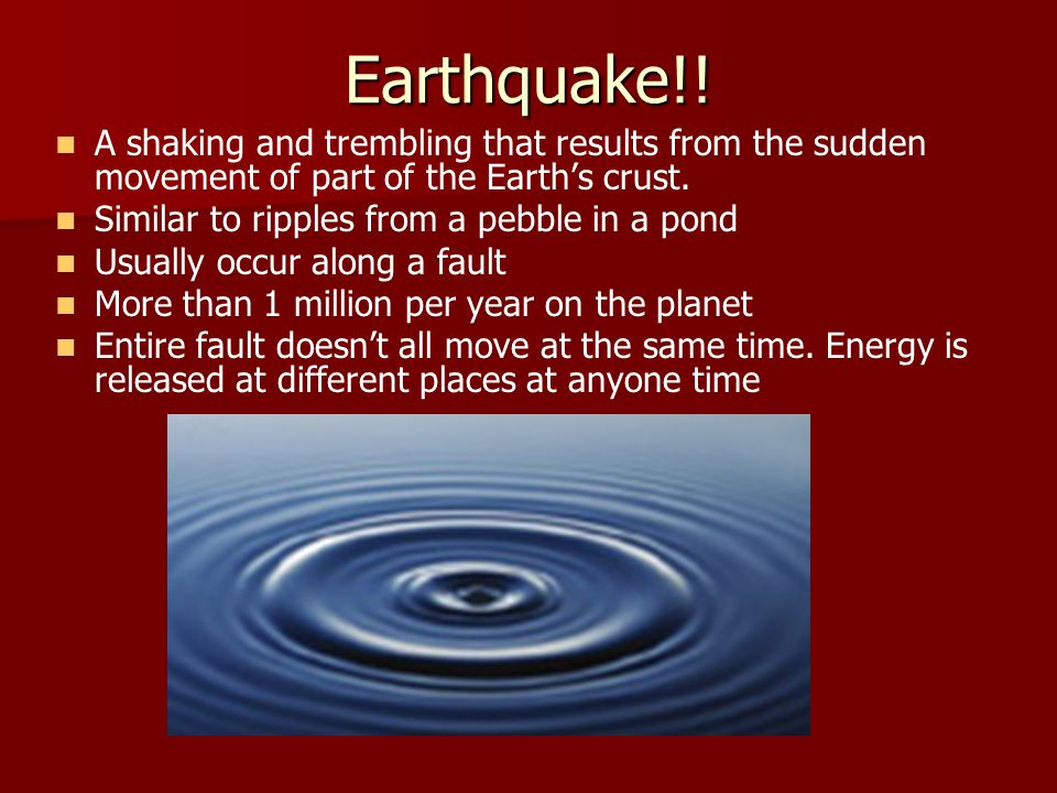 Tsunamis – Tidal Wave Tsunami - a large water wave caused by an under sea earthquake.
