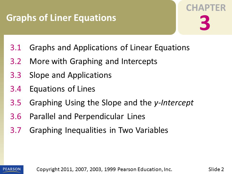 CHAPTER 3 Graphs of Liner Equations Slide 2Copyright 2011, 2007, 2003, 1999 Pearson Education, Inc. 3.1Graphs and Applications of Linear Equations 3.2
