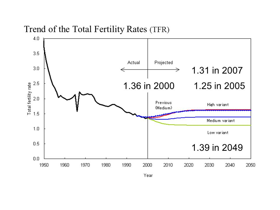 Trend of the Total Fertility Rates (TFR) 1.36 in 2000 1.31 in 2007 1.25 in 2005 1.39 in 2049