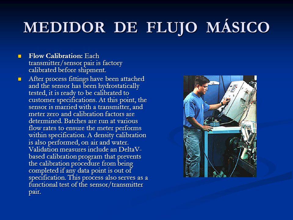 MEDIDOR DE FLUJO MÁSICO Flow Calibration: Each transmitter/sensor pair is factory calibrated before shipment. Flow Calibration: Each transmitter/senso