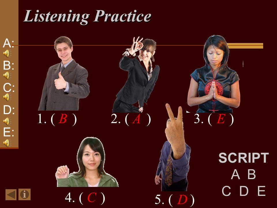 Listening Practice 1. ( )B2. ( ) A 3. ( ) E 4. ( )C 5. ( ) D A: B: C: D: E: SCRIPT A B C D E