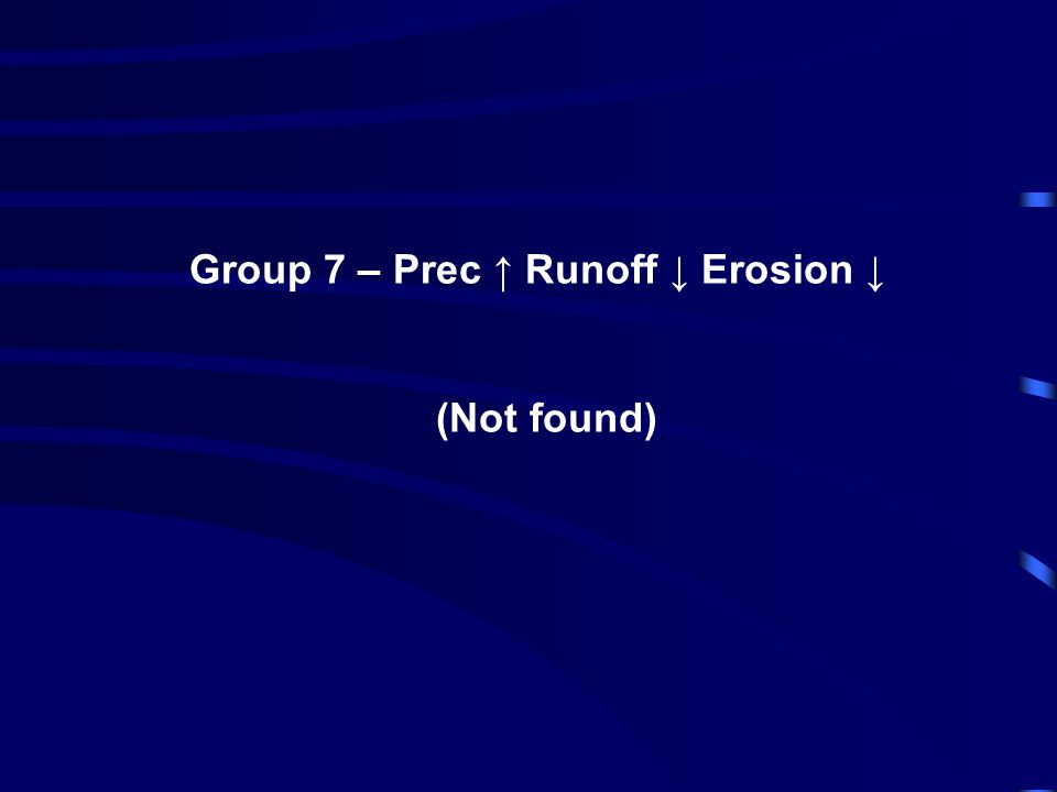 Group 7 – Prec ↑ Runoff ↓ Erosion ↓ (Not found)