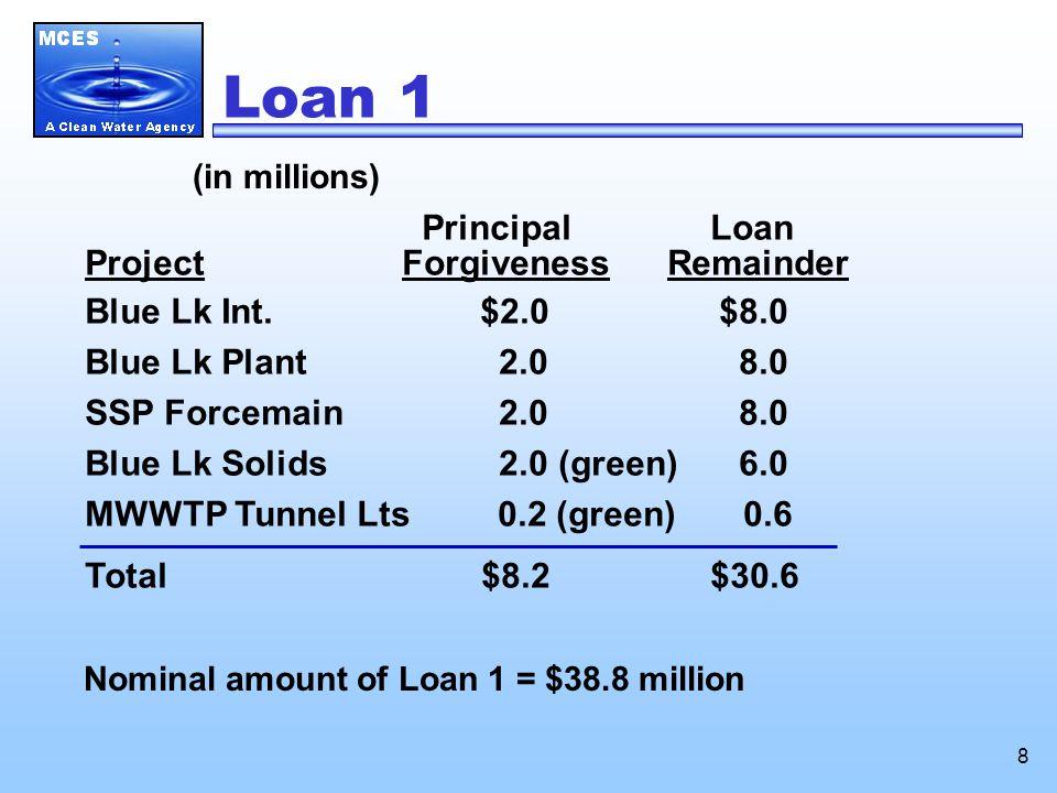 8 Loan 1 (in millions) Principal Loan Project Forgiveness Remainder Blue Lk Int.