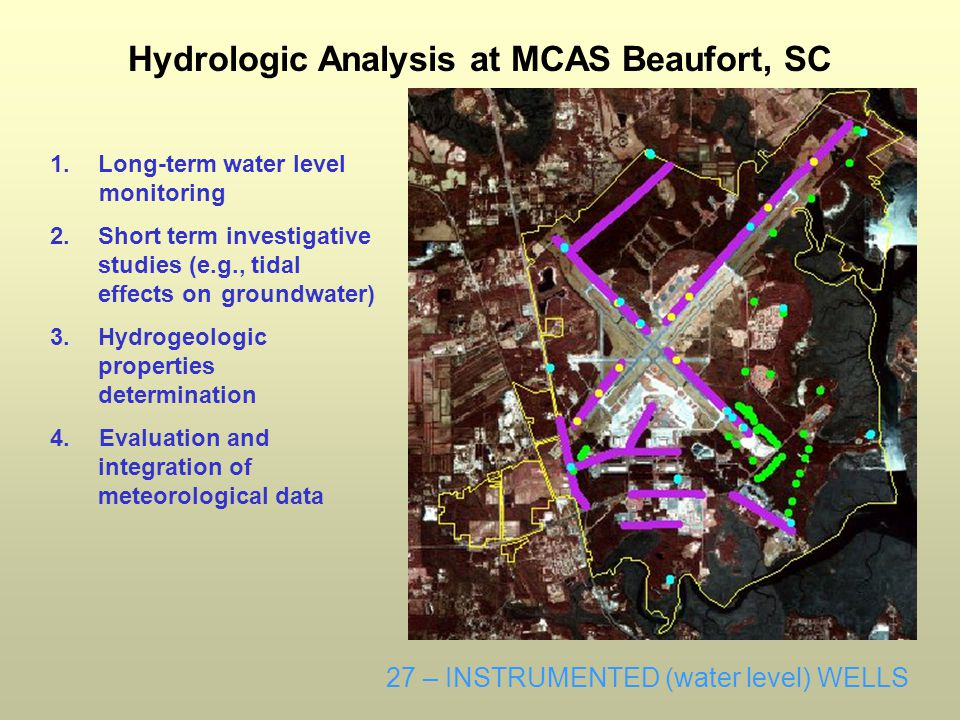 1.Long-term water level monitoring 2.Short term investigative studies (e.g., tidal effects on groundwater) 3.Hydrogeologic properties determination 4.Evaluation and integration of meteorological data Hydrologic Analysis at MCAS Beaufort, SC 27 – INSTRUMENTED (water level) WELLS