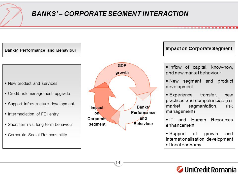 14 BANKS' – CORPORATE SEGMENT INTERACTION GDP growth Banks' Performance and Behaviour Impact on Corporate Segment  New product and services  Credit risk management upgrade  Support infrastructure development  Intermediation of FDI entry  Short term vs.