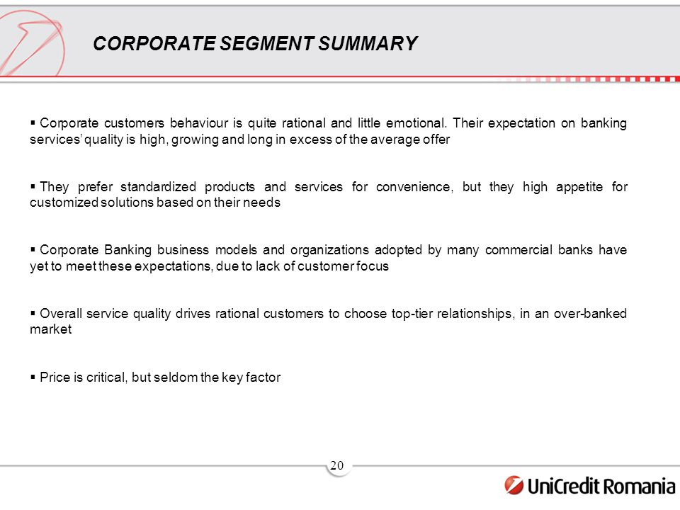 20 CORPORATE SEGMENT SUMMARY  Corporate customers behaviour is quite rational and little emotional.