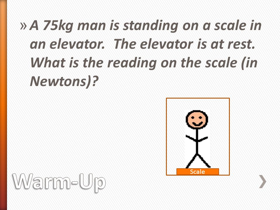 » A 75kg man is standing on a scale in an elevator.