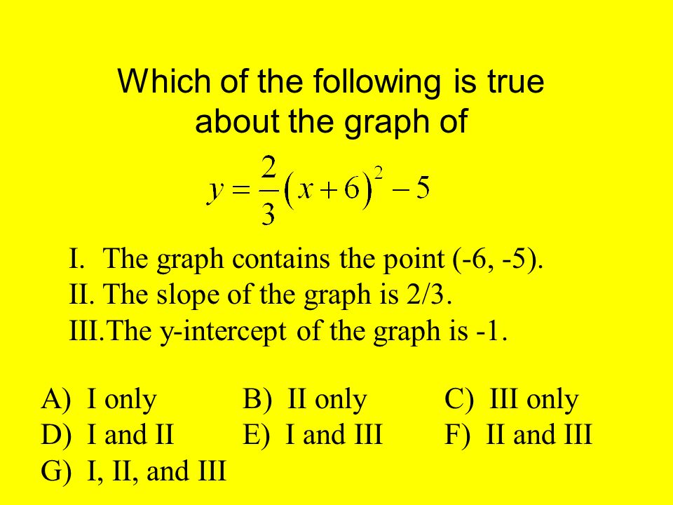 Which of the following is true about the graph of I.The graph contains the point (-6, -5).