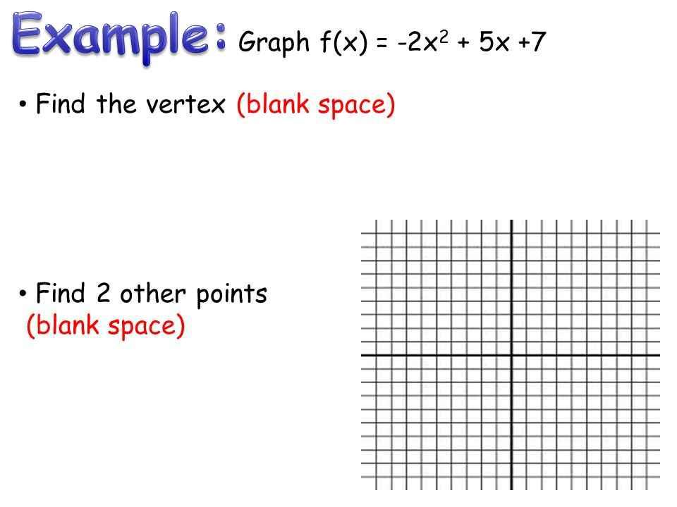 Graph f(x) = -2x 2 + 5x +7 Find the vertex (blank space) Find 2 other points (blank space)