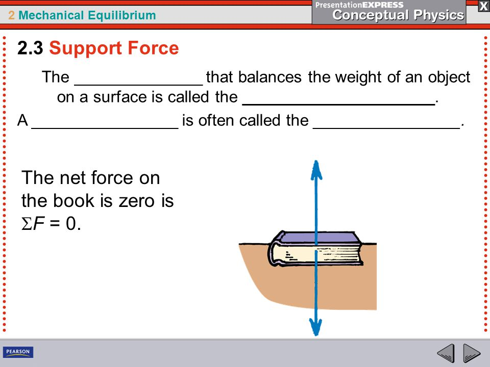 2 Mechanical Equilibrium The ______________ that balances the weight of an object on a surface is called the _____________________.
