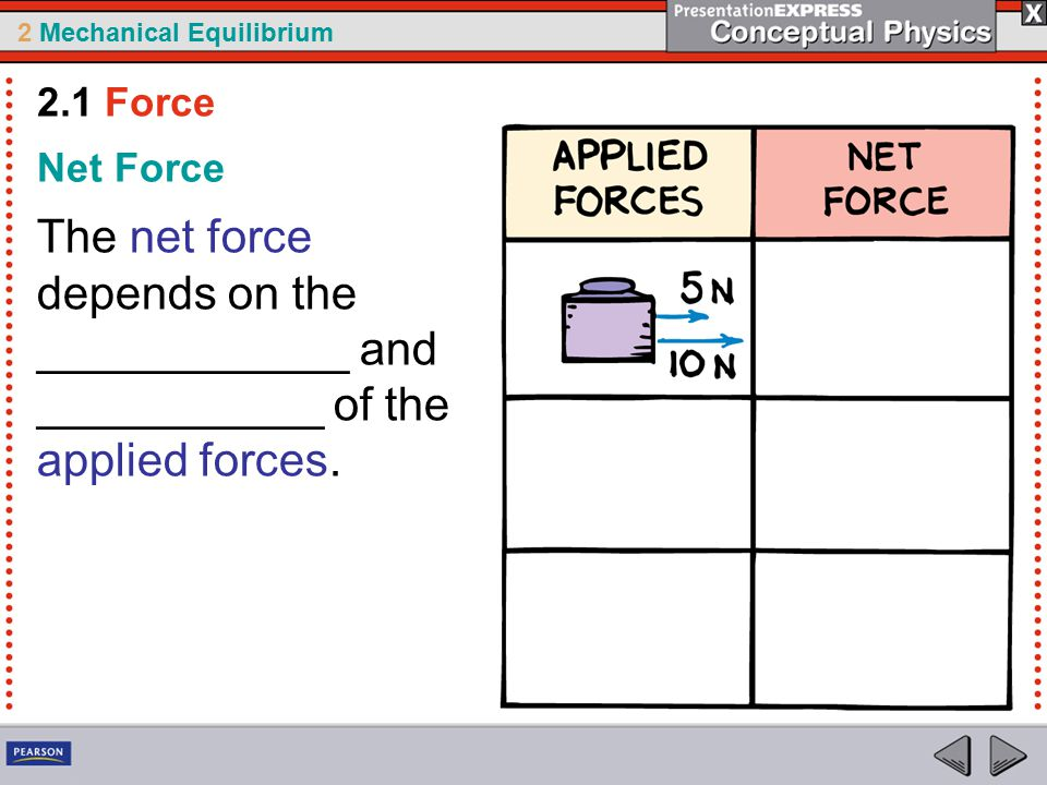 2 Mechanical Equilibrium Net Force The net force depends on the ____________ and ___________ of the applied forces.