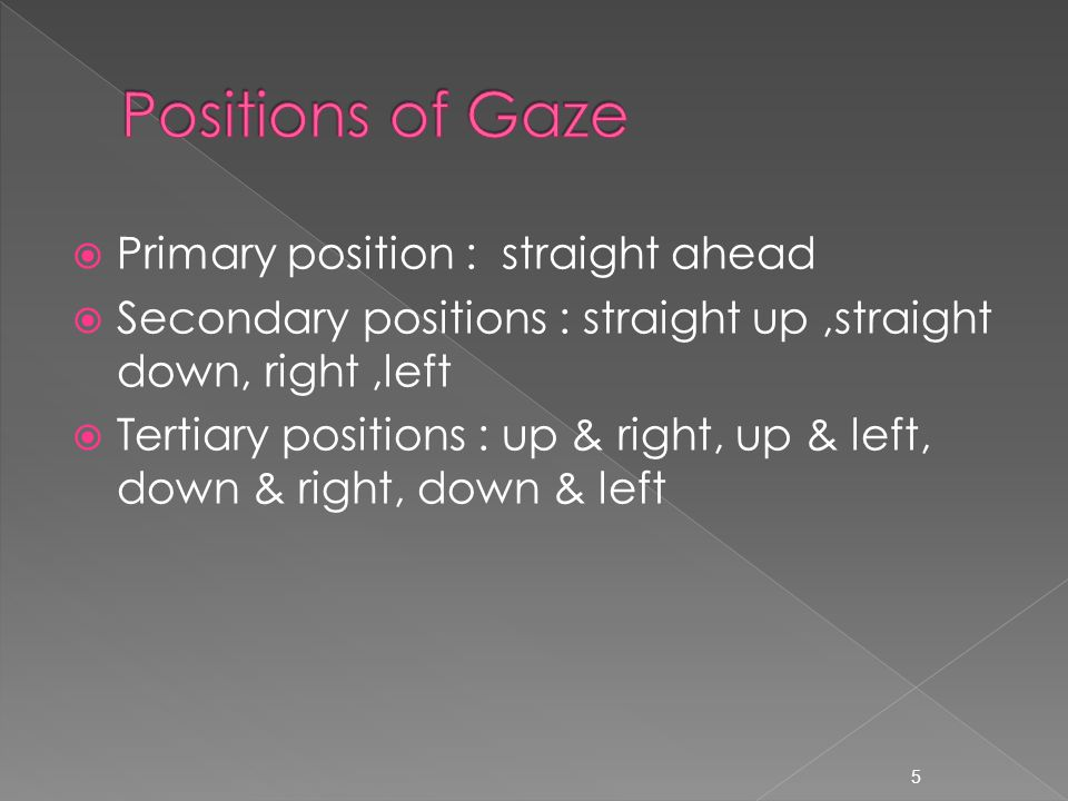  Primary position : straight ahead  Secondary positions : straight up,straight down, right,left  Tertiary positions : up & right, up & left, down & right, down & left 5