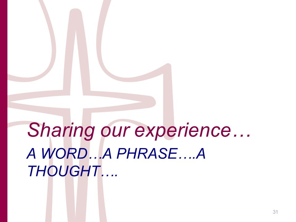 A WORD…A PHRASE….A THOUGHT…. Sharing our experience… 31