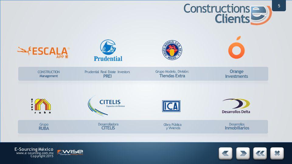 5 Prudential Real Estate Investors PREI Grupo Modelo, División: Tiendas Extra Orange Investments Grupo RUBA Desarrolladora CITELIS Obra Pública y Vivienda Desarrollos Inmobiliarios CONSTRUCTION Management