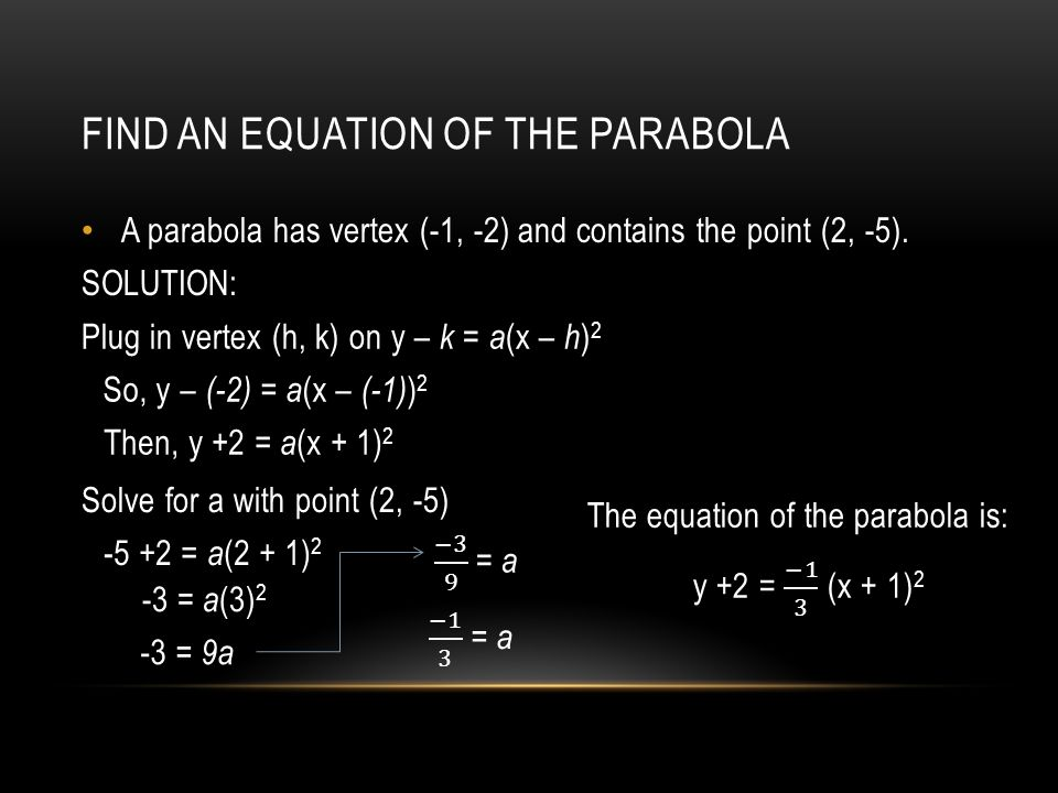 FIND AN EQUATION OF THE PARABOLA A parabola has vertex (-1, -2) and contains the point (2, -5).