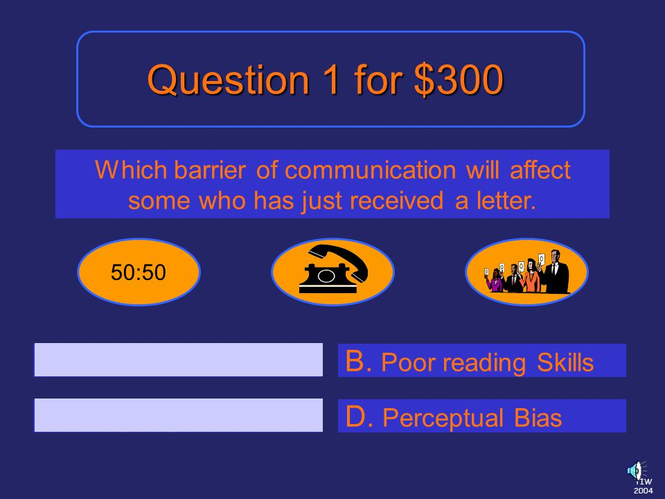 TIW 2004 Which barrier of communication will affect some who has just received a letter.