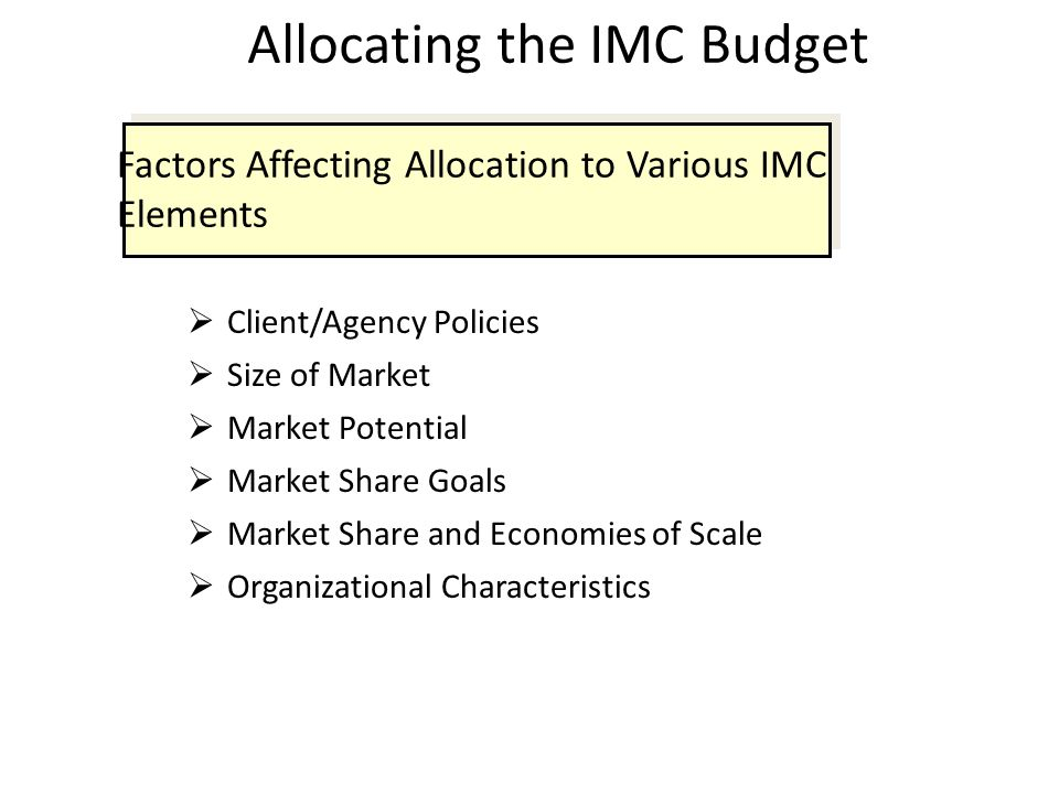 Allocating the IMC Budget  Client/Agency Policies  Size of Market  Market Potential  Market Share Goals  Market Share and Economies of Scale  Or