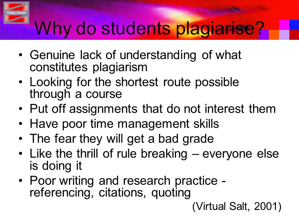 Why do students plagiarise.