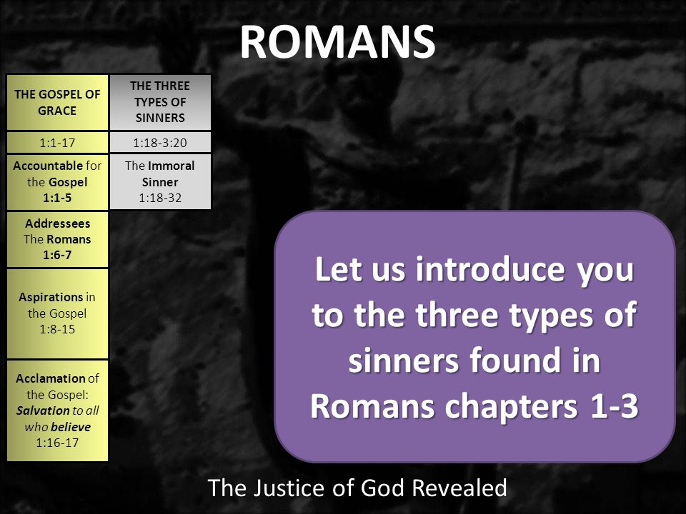 1:1-171:18-3:20 THE GOSPEL OF GRACE THE THREE TYPES OF SINNERS The Immoral Sinner 1:18-32 Accountable for the Gospel 1:1-5 Addressees The Romans 1:6-7 Aspirations in the Gospel 1:8-15 Acclamation of the Gospel: Salvation to all who believe 1:16-17 ROMANS The Justice of God Revealed Let us introduce you to the three types of sinners found in Romans chapters 1-3