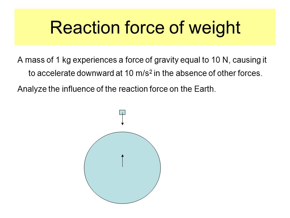 Reaction force of weight A mass of 1 kg experiences a force of gravity equal to 10 N, causing it to accelerate downward at 10 m/s 2 in the absence of other forces.