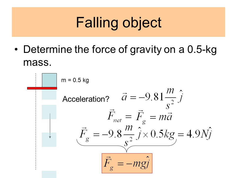 Falling object Determine the force of gravity on a 0.5-kg mass. m = 0.5 kg Acceleration