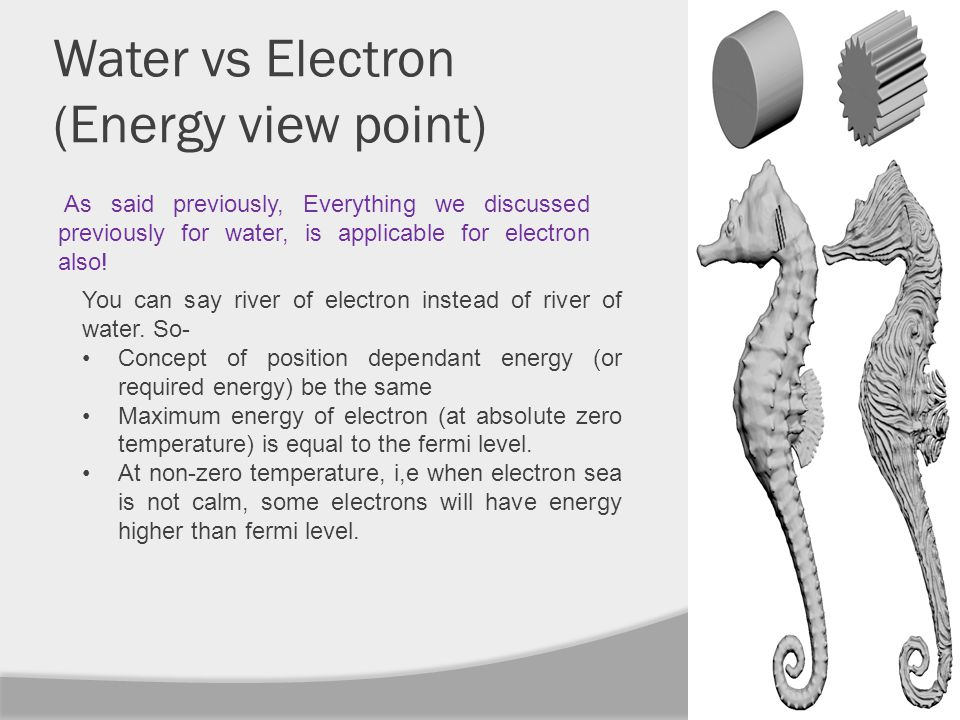 Water vs Electron (Energy view point) As said previously, Everything we discussed previously for water, is applicable for electron also.