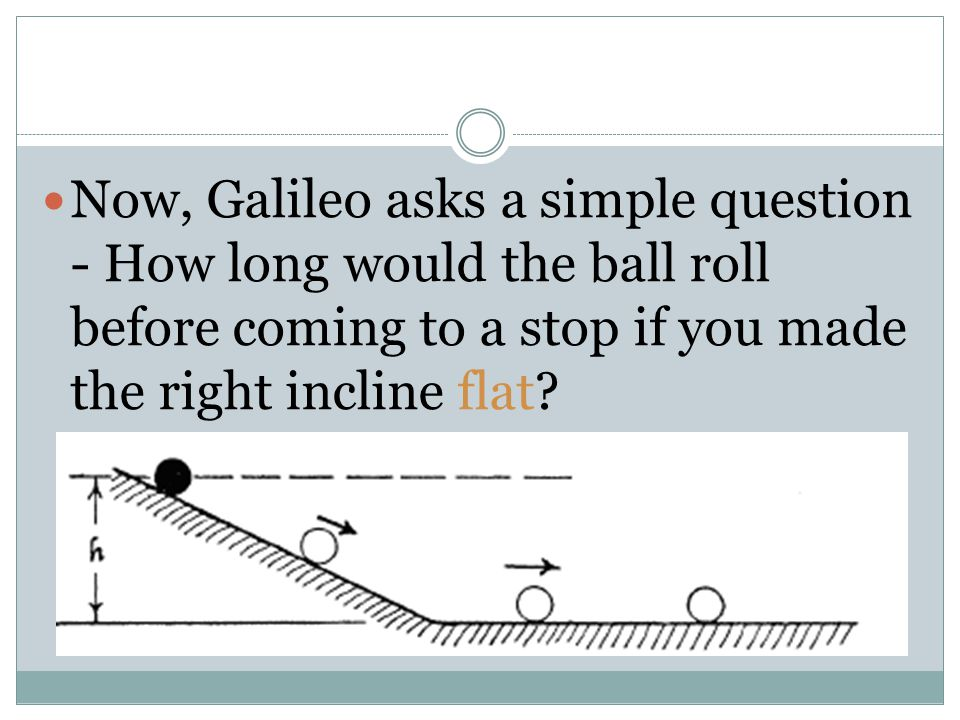 Now, Galileo asks a simple question - How long would the ball roll before coming to a stop if you made the right incline flat