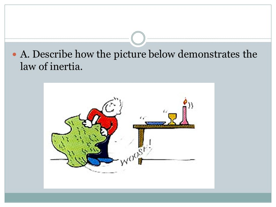 A. Describe how the picture below demonstrates the law of inertia.