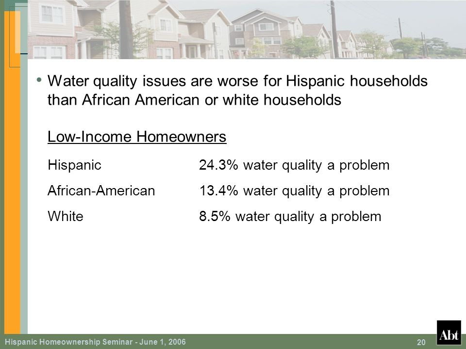 Hispanic Homeownership Seminar - June 1, 2006 20 Water quality issues are worse for Hispanic households than African American or white households Low-Income Homeowners Hispanic24.3% water quality a problem African-American13.4% water quality a problem White8.5% water quality a problem