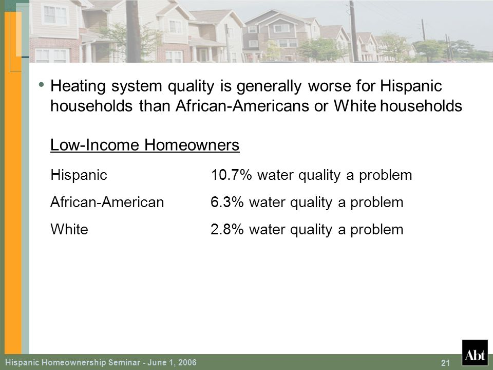 Hispanic Homeownership Seminar - June 1, 2006 21 Heating system quality is generally worse for Hispanic households than African-Americans or White households Low-Income Homeowners Hispanic10.7% water quality a problem African-American6.3% water quality a problem White2.8% water quality a problem