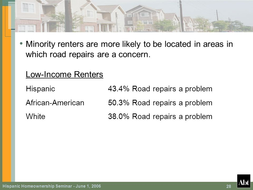 Hispanic Homeownership Seminar - June 1, 2006 28 Minority renters are more likely to be located in areas in which road repairs are a concern.