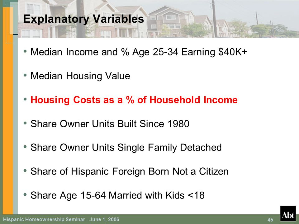 Hispanic Homeownership Seminar - June 1, 2006 45 Explanatory Variables Median Income and % Age 25-34 Earning $40K+ Median Housing Value Housing Costs as a % of Household Income Share Owner Units Built Since 1980 Share Owner Units Single Family Detached Share of Hispanic Foreign Born Not a Citizen Share Age 15-64 Married with Kids <18