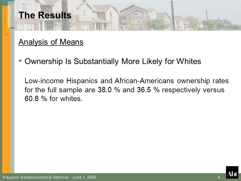 Hispanic Homeownership Seminar - June 1, 2006 5 The Results Analysis of Means Ownership Is Substantially More Likely for Whites Low-income Hispanics and African-Americans ownership rates for the full sample are 38.0 % and 36.5 % respectively versus 60.8 % for whites.